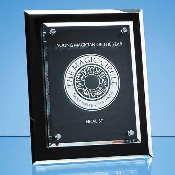 PG221P -   25cm x 20cm Onyx Black Desk Plaque with Mounted Clear Rectangle, H or V - (Fully Engraved)