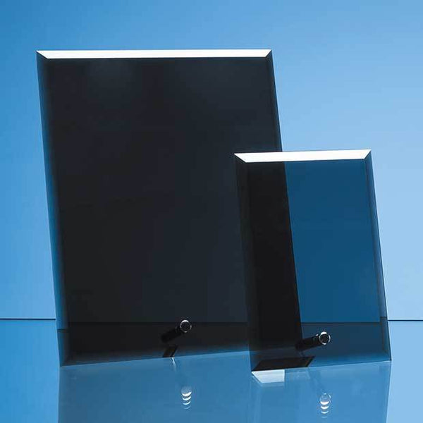 PG228P -   15cm x 10cm x 5mm Smoked Black Glass Rectangle with Chrome Pin - (Fully Engraved)