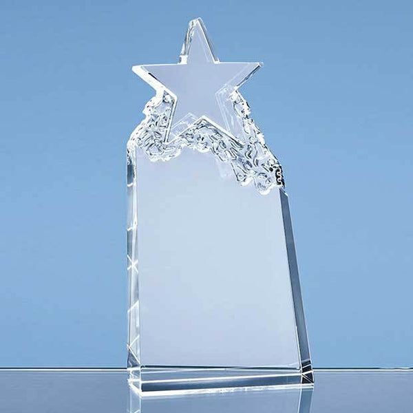 QC1004P -   22.5cm Optical Crystal Star Mountain Award - (Fully Engraved)