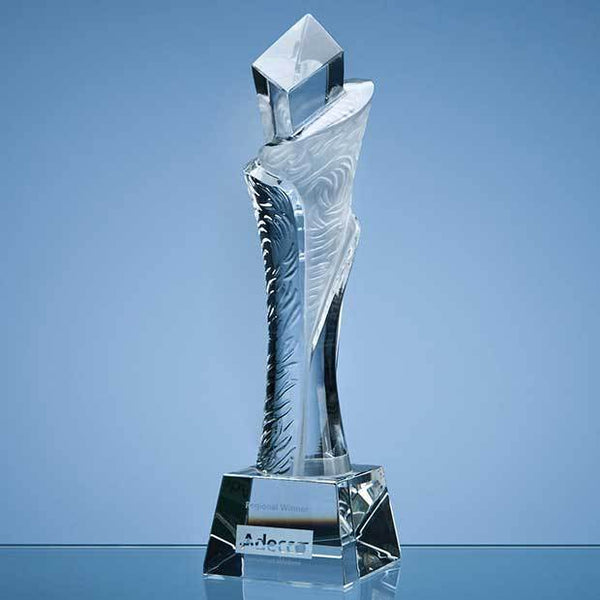 QC1008P -   28.5cm Optical Crystal Breaker Award - (Fully Engraved)