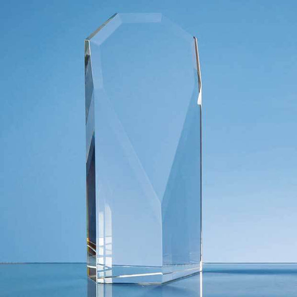 QC1024P -   23cm Optical Crystal Facet Shield Award - (Fully Engraved)