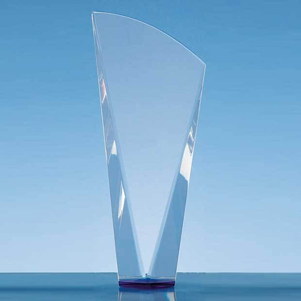 QC1026P -   23.5cm Clear Optical Crystal Facet Shard Award with a Sapphire Blue Base - (Fully Engraved)