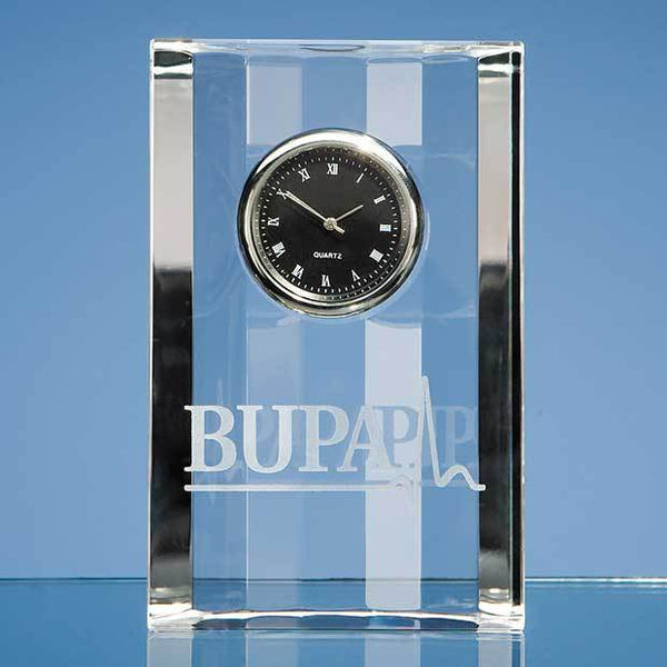 R19P -   11cm Optical Crystal Scalloped Clock - (Fully Engraved)
