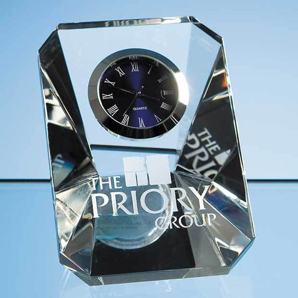 R20P -   7cm Optical Crystal Wedge Clock - (Fully Engraved)