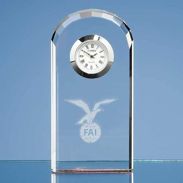 R21P -   10cm Optical Crystal Bevelled Arch Clock - (Fully Engraved)