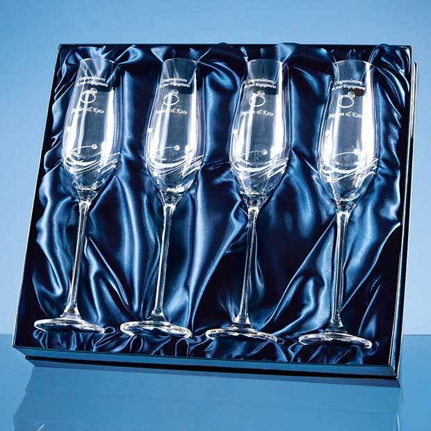 4 Diamante Champagne Flutes with Elegance Spiral Cutting in a Satin Lined Gift Box