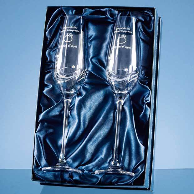 2 Diamante Champagne Flutes with Elegance Spiral Cutting in a Satin Lined Gift Box