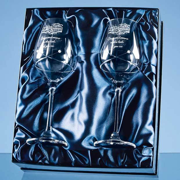2 Diamante Wine Glasses with a Kiss Cut Design in a Satin Lined Gift Box