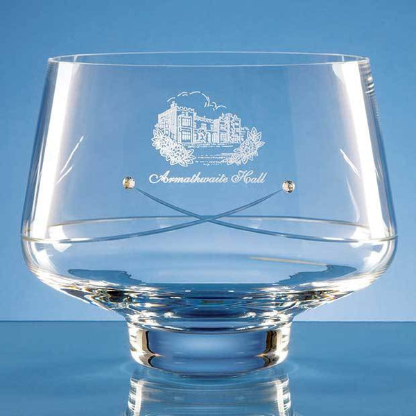 SL232P -   21cm Diamante Tapered Bowl with a Kiss Cut Design - (Fully Engraved)