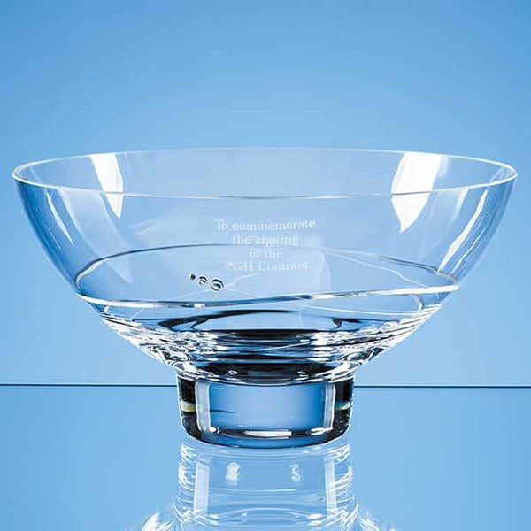 SL459P -   24cm Diamante Oval Bowl with Spiral Design Cutting - (Fully Engraved)