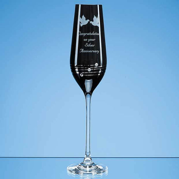 SL474P -   Single Onyx Black Diamante Champagne Flute with Platinum Spiral Design - (Fully Engraved)