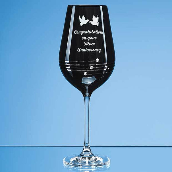 SL475P -   Single Onyx Black Diamante Wine Glass with Platinum Spiral Design - (Fully Engraved)