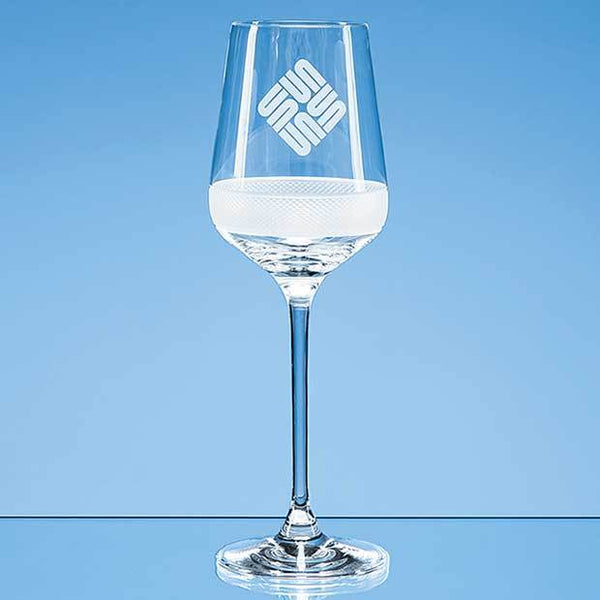 SL506P -   350ml Diamond Cut Crystalite Wine Glass - (Fully Engraved)
