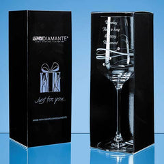 Just For You' Diamante Wine Glass with Spiral Design Cutting in an attractive Gift Box