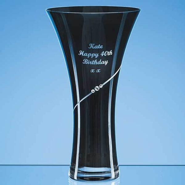 SL557P -   25cm Onyx Black Diamante Trumpet Vase - (Fully Engraved)