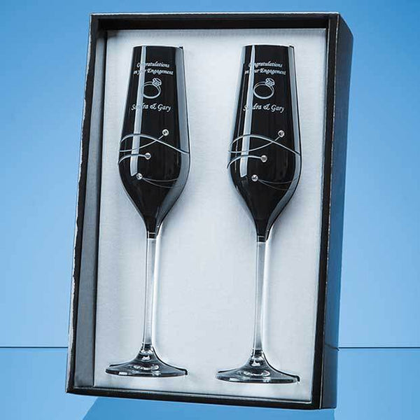 SL558P -   2 Onyx Black Diamante Champagne Flutes with Spiral Design Cutting in an attractive Gift Box - (Fully Engraved)
