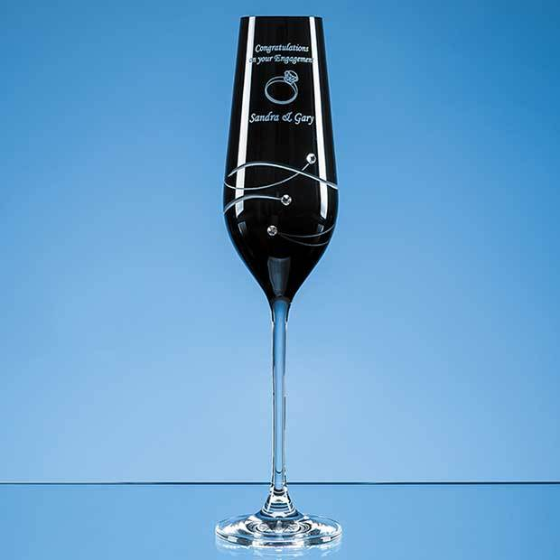 Single Onyx Black Diamante Champagne Flute with Spiral Design Cutting