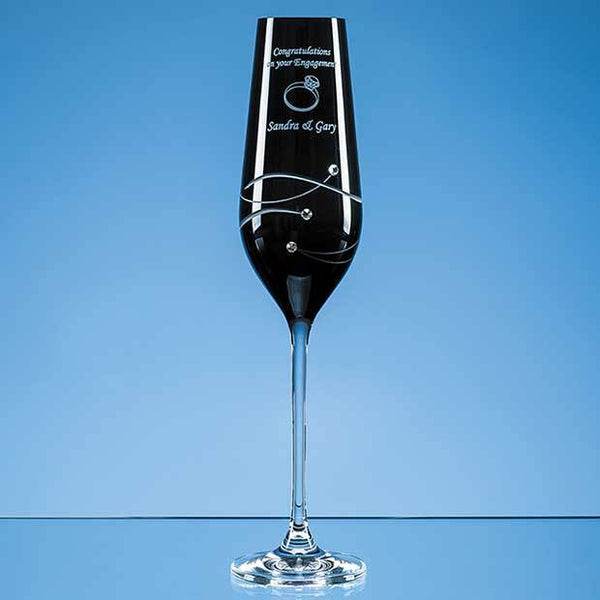 SL559P -   Single Onyx Black Diamante Champagne Flute with Spiral Design Cutting - (Fully Engraved)