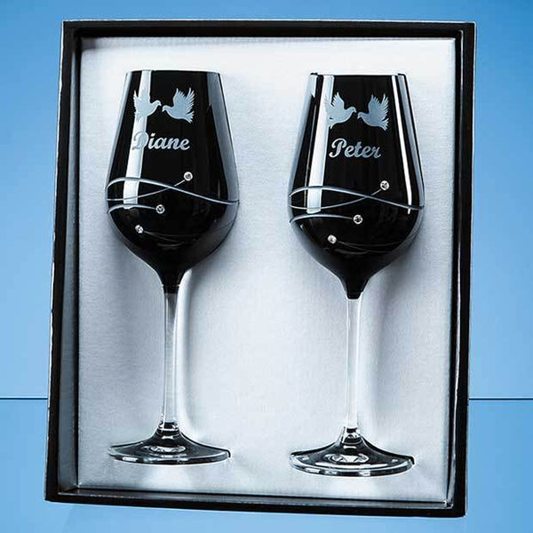 SL560P -   2 Onyx Black Diamante Wine Glasses with Spiral Design Cutting in an attractive Gift Box - (Fully Engraved)