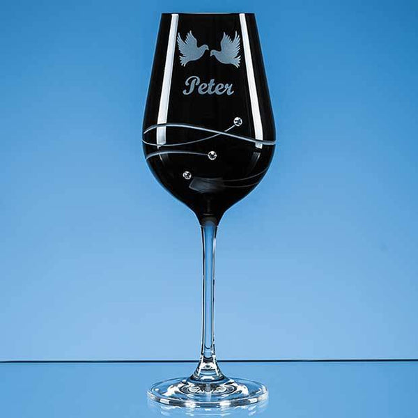 SL561P -   Single Onyx Black Diamante Wine Glass with Spiral Design Cutting - (Fully Engraved)