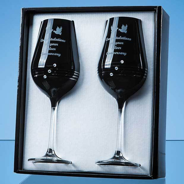 SL573P -   2 Onyx Black Diamante Wine Glasses with Platinum Spiral Design in an attractive Gift Box - (Fully Engraved)