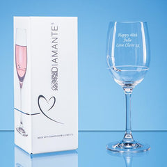 Single Diamante Petit Wine Glass with Heart Design in an attractive Gift Box