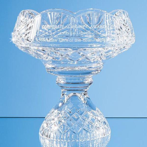SUD13P -   20cm Lead Crystal Scalloped Footed Bowl - (Fully Engraved)