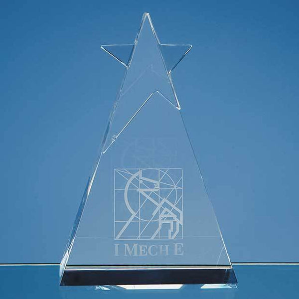 SY1012P -   15cm Optical Crystal Star Triangle Award - (Fully Engraved)