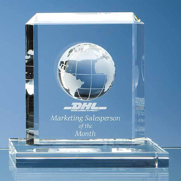 SY1016P -   15cm Optical Crystal Globe Rectangle Award - (Fully Engraved)