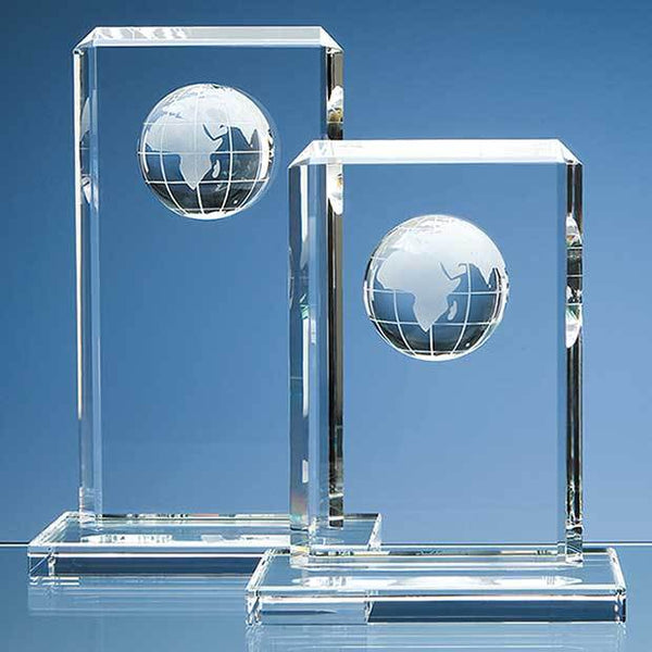 SY1017P -   19cm Optical Crystal Globe Rectangle Award - (Fully Engraved)