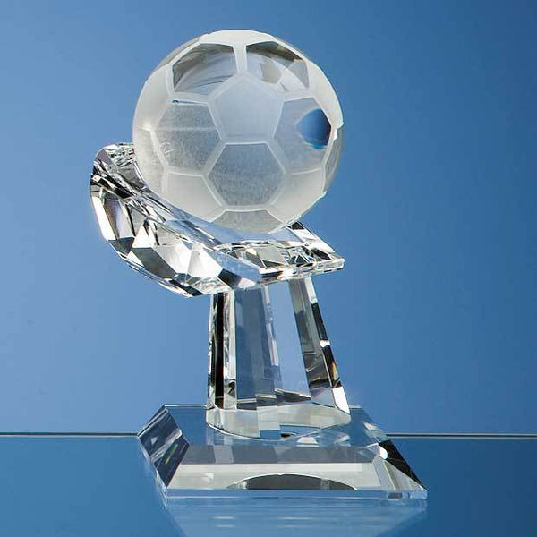 SY1025P -   6cm Optical Crystal Football on Mounted Hand Award - (Fully Engraved)