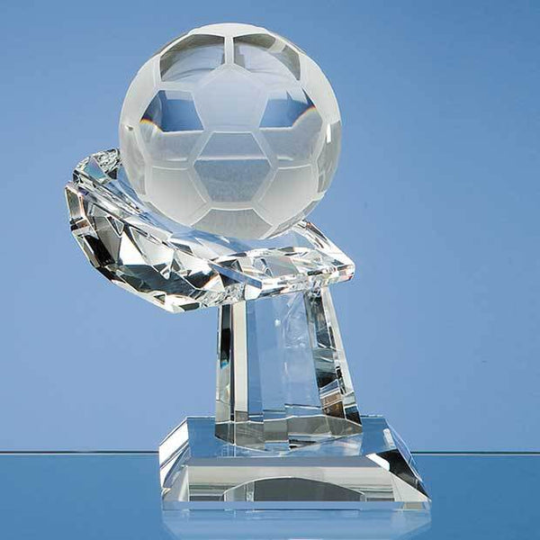 SY1026P -   8cm Optical Crystal Football on Mounted Hand Award - (Fully Engraved)