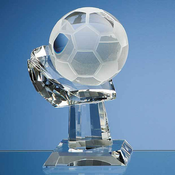 SY1027P -   10cm Optical Crystal Football on Mounted Hand Award - (Fully Engraved)
