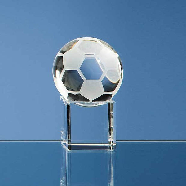 SY1028P -   5cm Optical Crystal Football on a Clear Crystal Base - (Fully Engraved)