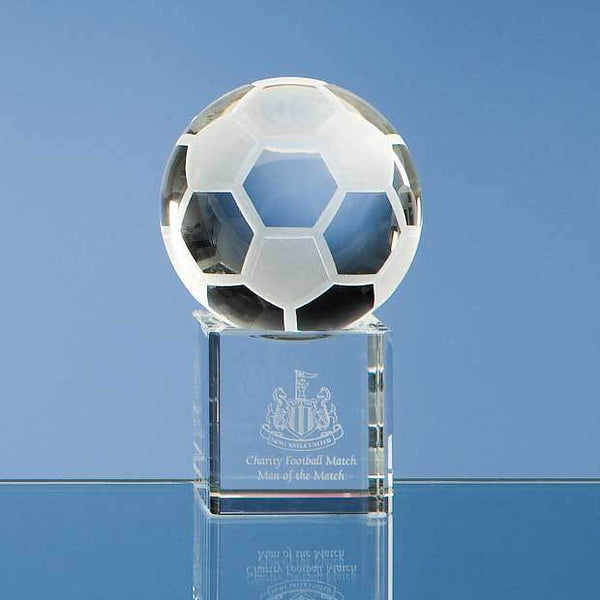SY1029P -   6cm Optical Crystal Football on a Clear Crystal Base - (Fully Engraved)