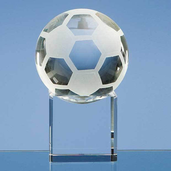 SY1030P -   8cm Optical Crystal Football on a Clear Crystal Base - (Fully Engraved)