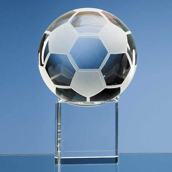 SY1031P -   10cm Optical Crystal Football on a Clear Crystal Base - (Fully Engraved)