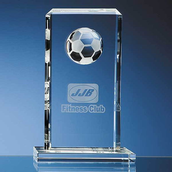 SY1036P -   24cm Optical Crystal Football Rectangle Award - (Fully Engraved)