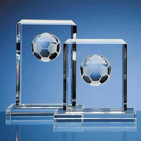 SY1038P -   15cm Optical Crystal Football Rectangle Award - (Fully Engraved)