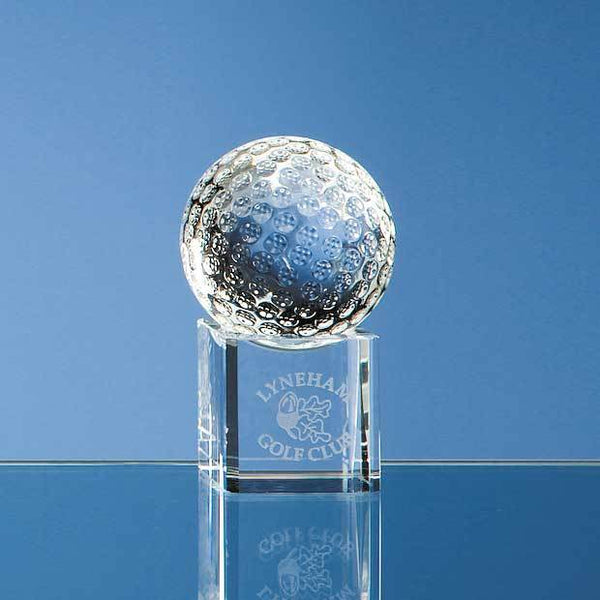 SY1042P -   5cm Optical Crystal Golf Ball on a Clear Crystal Base - (Fully Engraved)