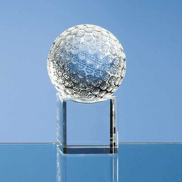 SY1043P -   6cm Optical Crystal Golf Ball on a Clear Crystal Base - (Fully Engraved)