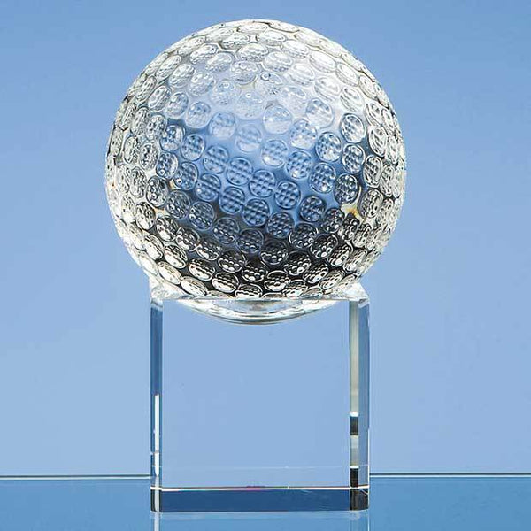 SY1044P -   8cm Optical Crystal Golf Ball on a Clear Crystal Base - (Fully Engraved)