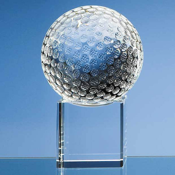 SY1045P -   10cm Optical Crystal Golf Ball on a Clear Crystal Base - (Fully Engraved)
