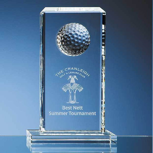 SY1050P -   24cm Optical Crystal Golf Ball Rectangle Award - (Fully Engraved)
