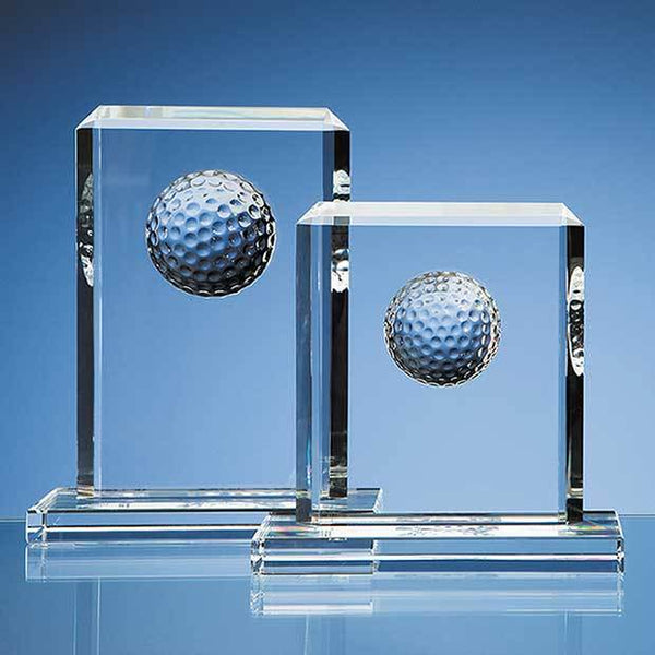 SY1051P -   19cm Optical Crystal Golf Ball Rectangle Award - (Fully Engraved)
