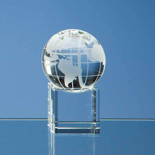 SY1053P -   5cm Optical Crystal Globe on a Clear Crystal Base - (Fully Engraved)