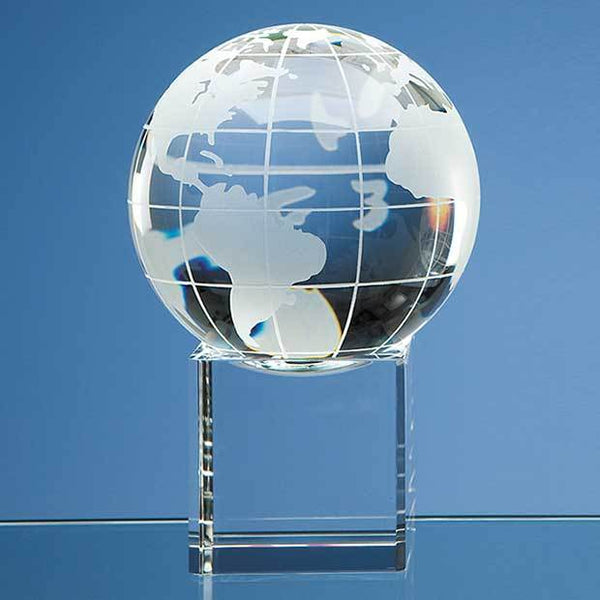 SY1056P -   10cm Optical Crystal Globe on a Clear Crystal Base - (Fully Engraved)