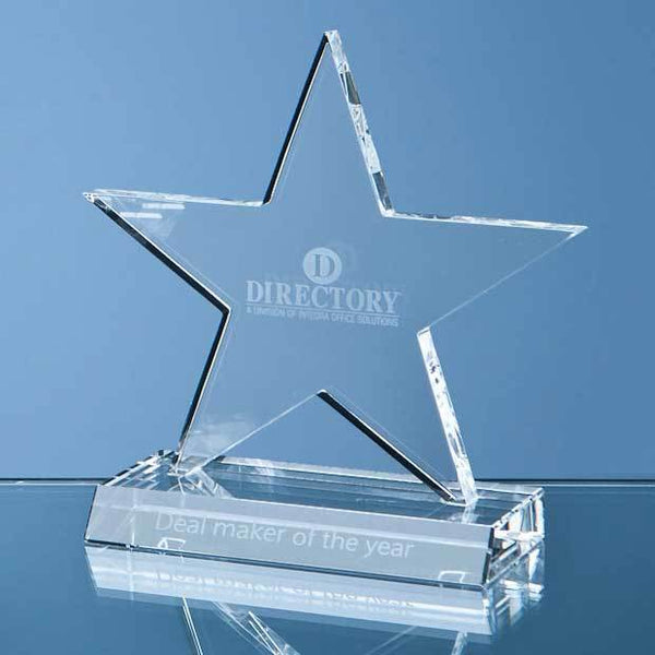 SY1061P -   11cm Optical Crystal 5 Pointed Star on Base Award - (Fully Engraved)