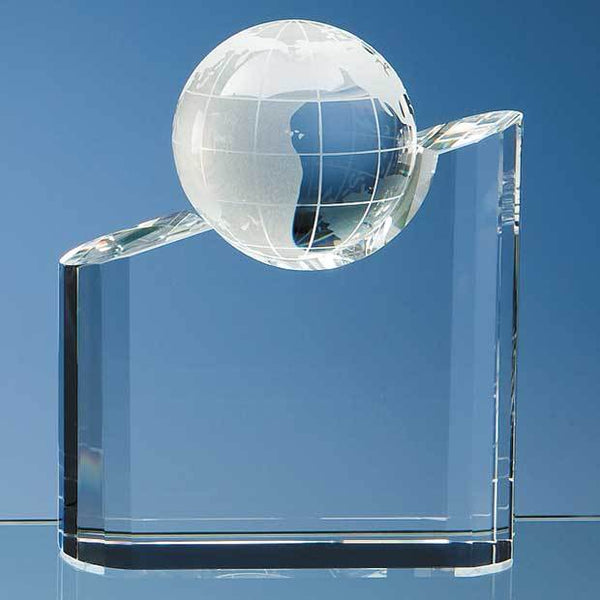 SY1063P -   18cm Optical Crystal Globe Mountain Award - (Fully Engraved)