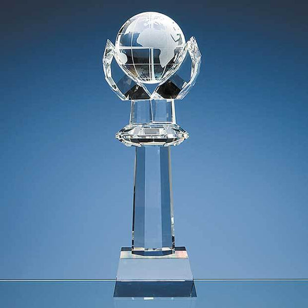 SY1066P -   31cm Optical Crystal Mounted Globe Column Award - (Fully Engraved)